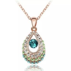 Jewelry - Ombre Green Crystal Teardrop Necklace